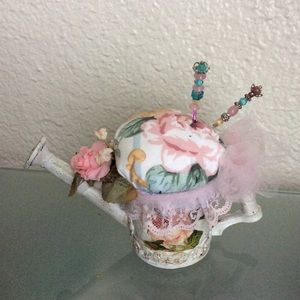 Watering Can Pincushion Handcraft Shabby Chic